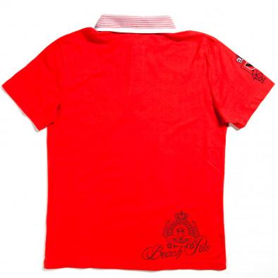 Мъжка тениска с яка X-Name в червено с щампа 140313-28 2