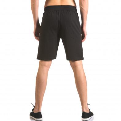 Мъжки черни шорти за спорт с малък принт ca050416-44 3