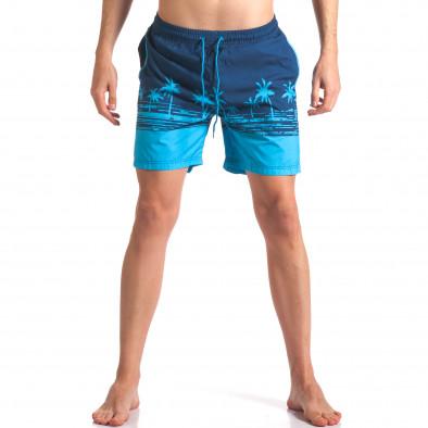 Мъжки сини бански с принт палми it250416-41 2