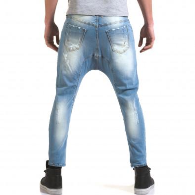Мъжки светло сини дънки с декоративни прокъсвания it090216-32 3