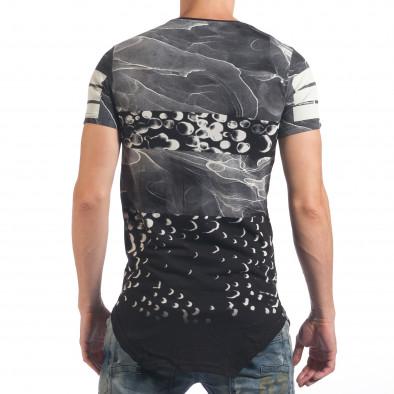 Мъжка черна тениска удължена с надпис New York Just Relax 4