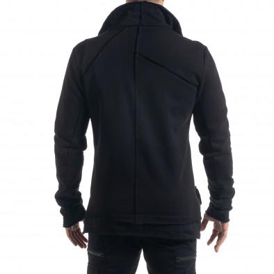 Удължен мъжки суичър в черно tr110320-139 3