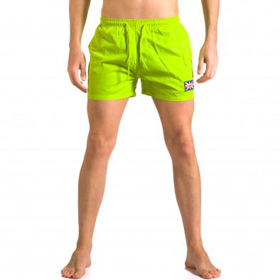 Мъжки ярко зелени бански тип шорти с джобове ca050416-9 2