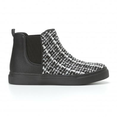 Дамски черни боти с бяло-черна текстилна част it110817-5 2