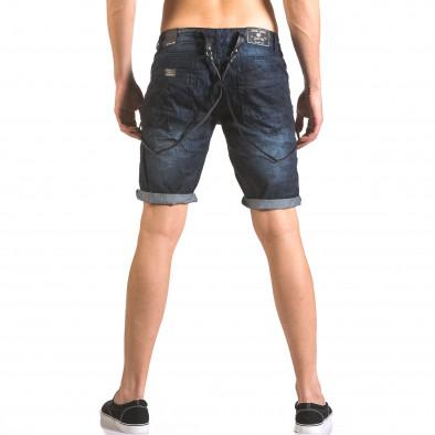 Мъжки къси дънки син камуфлаж с тиранти tsf060416-8 3