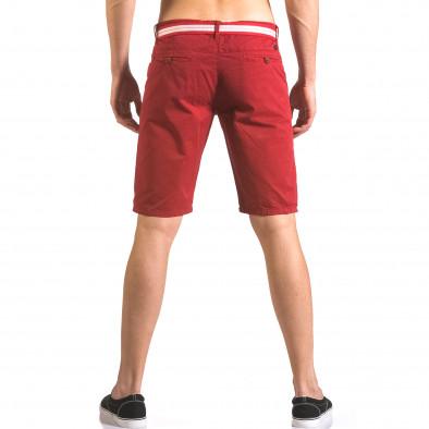 Мъжки червен къс панталон с текстилен колан Top Star 5
