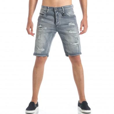 Мъжки сиви къси дънки с големи скъсвания it190417-61 2