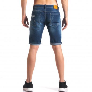 Мъжки къси дънкови панталони с връзки и апликации it250416-35 3