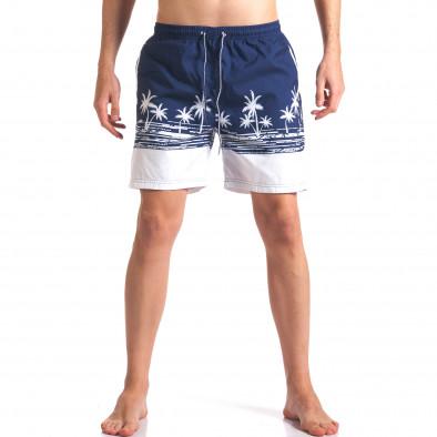 Мъжки тъмно сини бански с принт бели палми Austar Jeans 4