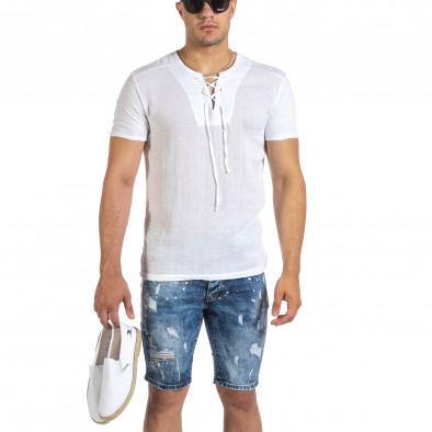 Текстурирана бяла тениска с връзка it240621-5 2