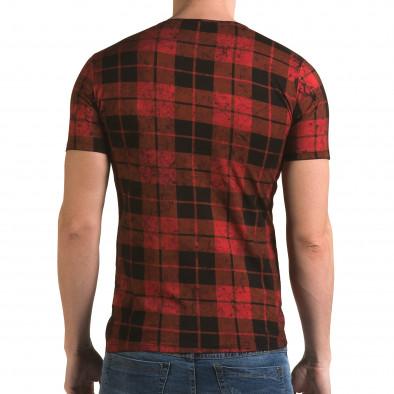 Мъжка червена карирана тениска il120216-49 3
