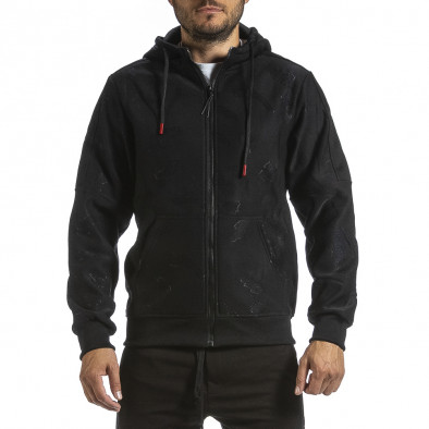 Жакардов черен суичър с цип червен поларен хастар gr070921-49 2