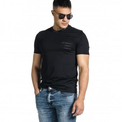 Мъжка черна тениска с декорирано бие tr150521-7 2