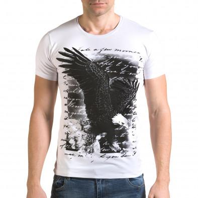 Мъжка бяла тениска с принт птица il120216-52 2