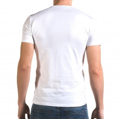 Мъжка бяла тениска с принт череп il120216-19 3