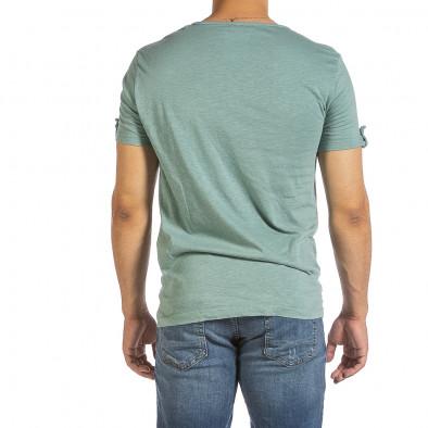 Текстурирана зелена тениска с копчета it240621-3 3
