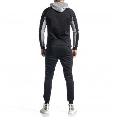Мъжки черно-бял анцуг Biker style it010221-59 6