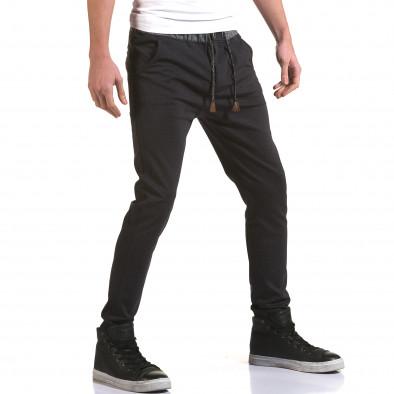 Мъжки синьо-сив панталон с контрастен ластик it090216-30 4