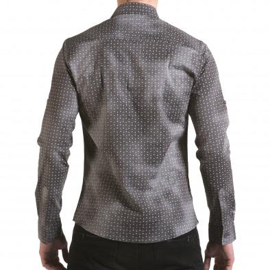 Мъжка сива риза с малки бели детайли il170216-104 3