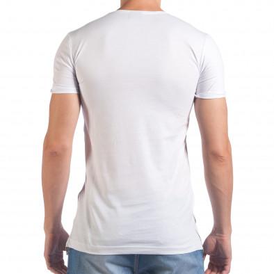 Мъжка бяла тениска с черепи отпред il060616-78 3