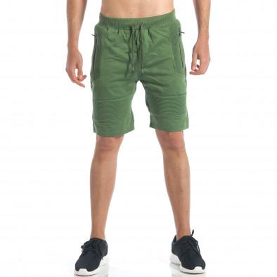 Мъжки зелени шорти с релефни части it190417-18 2