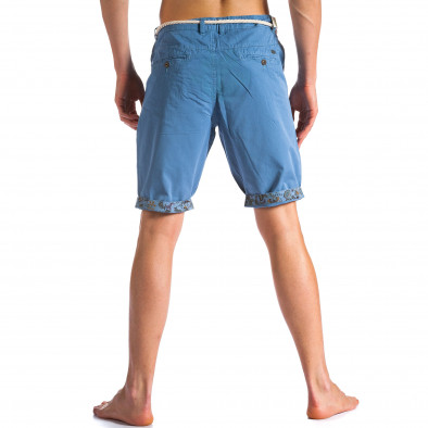 Мъжки сини къси панталони с въжен колан ca090514-8 2