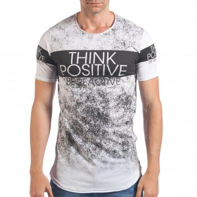 Мъжка бяла тениска Think Positive Millionaire 4