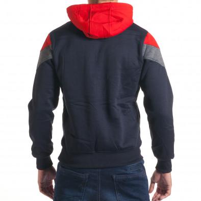 Мъжки син суичър със сива и червена част it240816-65 3