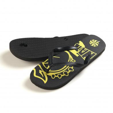 Мъжки черни джапанки с жълта рисунка it150616-11 3