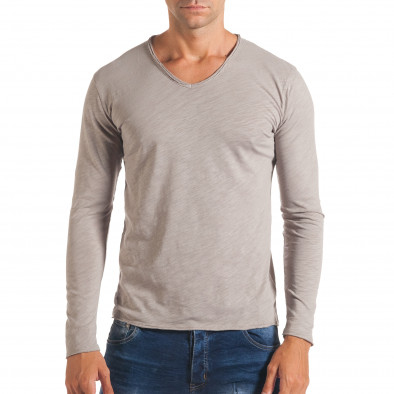 Мъжка сива блуза с остро деколте it180816-5 2