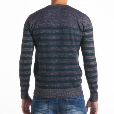 Мъжки синьо-сив пуловер със зелени райета it170816-36 3