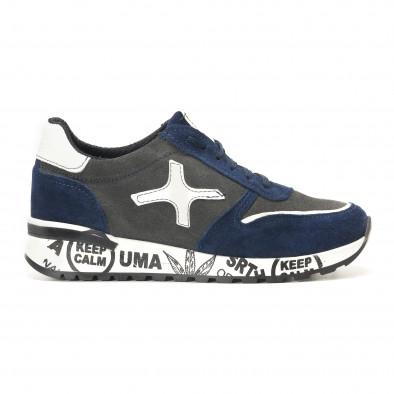 Мъжки синьо-сиви маратонки от естествен велур с надписи по подметките it291117-22 2