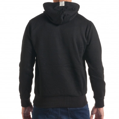 Мъжки черен суичър с релефен надпис it240816-33 3