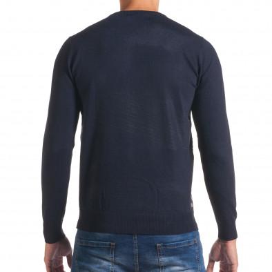 Мъжки син пуловер на светло сиви райета it170816-16 3