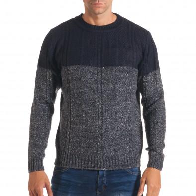 Мъжки син зимен пуловер с релефна плетка it170816-30 2