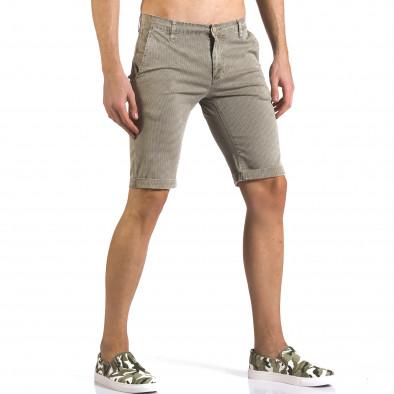 Мъжки бежови къси панталони с фин принт по плата Bruno Leoni 5