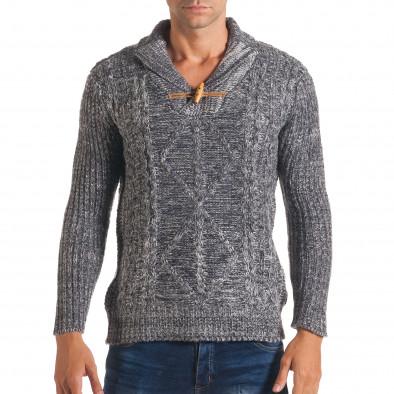 Мъжки синьо-бял зимен пуловер с копче на яката it170816-29 2