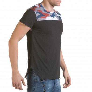 Мъжка сива тениска с камуфлаж на раменете il170216-53 4