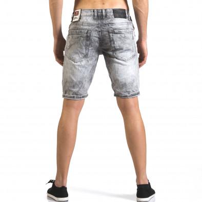 Мъжки светло сиви къси дънки с големи скъсвания Justing 5
