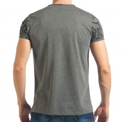 Мъжка сива тениска с пришити връзки tsf020218-65 3