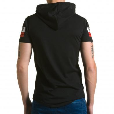 Мъжка черна тениска с качулка и номер 58 Belman 4