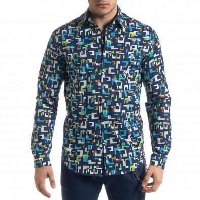 Slim fit мъжка риза геометричен десен tr110320-97 3