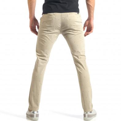 Мъжки панталон в цвят каки с малки детайли по плата it290118-36 3