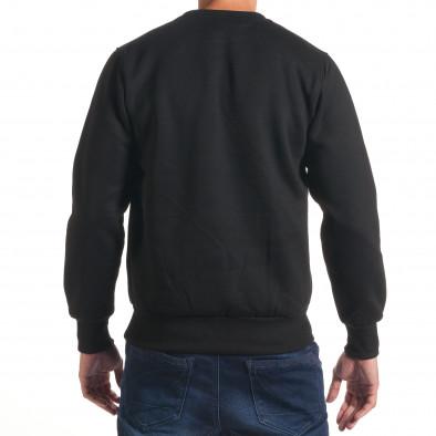 Мъжки черен суичър с надпис и емблема it240816-19 3