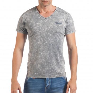 Мъжка сива тениска с избелял ефект и надпис Lagos 4