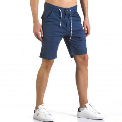 Мъжки сини къси панталони с връзки it110316-39 4