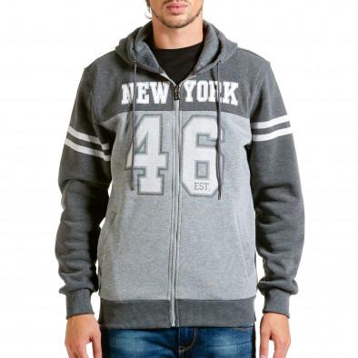Мъжки сив суичър New York hn240815-53 2