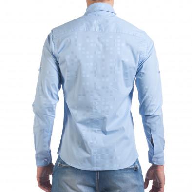 Мъжка синя риза с малки кръстчета il060616-118 3