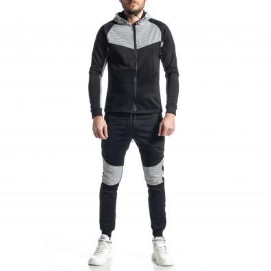 Мъжки черно-бял анцуг Biker style it010221-59 2