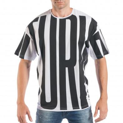 Мъжка черно-бяла тениска със свободна кройка  tsf250518-4 2